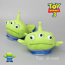 One Pair Toy Story 3 Eyes Alien Green Men Soft Plush Slipper Shoes Great Gift