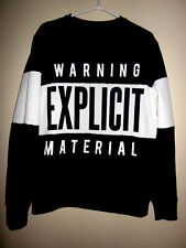 SEXY UNISEX Sweatshirt TUNIC BOLD fun joke sex Warning B&W Graphic Sweatshirt M