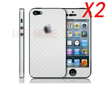 2X White Carbon fiber Skin adhesive Full Body Sticker Protector For iPhone 4S