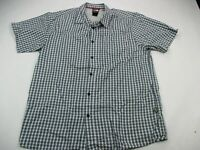 THE NORTH FACE Button Front Short Sleeve Shirt Size Large Pocket Cotton Blue