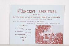 Programme Concert Requiem FAURE Maitrise Collège de COMBREE 1952 Abbé Clavereau