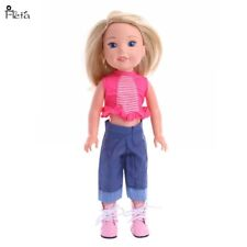 """Doll Clothes 14.5"""" Pants Jean Top Pink Stripe Fit 14.5"""" Ag Wellie Wishers Doll"""