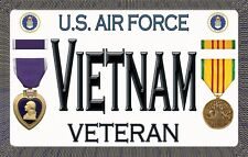 """Purple Heart - Air Force - Vietnam - Magnetic Sign - 6"""" L X 3.75"""" H - Outdoor"""