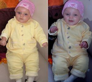 Süßes Baby 2 Teiler Set C&A Jacke Hose gefüttert 62 68 74 80 86 92 gelb Karo Neu