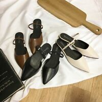 Women Slip Flat Heels Casual Shoes Leather Flower Sandals Soft Slippers Summer