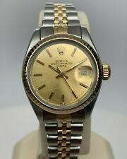 ROLEX Ladies Two Tone Date 6917 circa 1981 Fluted Jubilee 26mm 14kt & Steel- NR!