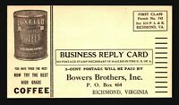 US Early Bowers Brothers Coffee Pre-Paid Reply Card / Unused - Z15815