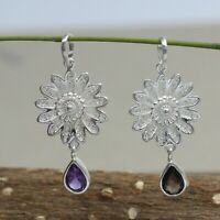 Solid 925 Sterling Silver Faceted Pear Amethyst 3.5Cm Combo Pendant Set SP1245