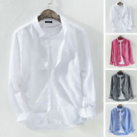 Men's Solid Long Sleeve Casual Formal Tops Button Down Shirts Blouse Plus Size