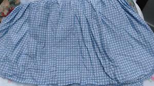 RALPH LAUREN ADDISON-CAL KING BEDSKIRT- BLUE & WHITE-HOUNDSTOOTH-100% COTTON