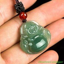 Burma Certified Grade A Ice waxy Jadeite Jade Laughing Buddha Pendant #2109