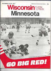 November 25-26 1977 WISCONSIN vs MINNESOTA College Hockey Program (JS)