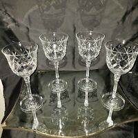 Crystal King Richard pattern Wine Glasses VTG Set of 4 no chip/crack Beautiful
