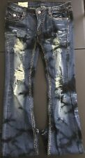 MACHINE Juniors/Womens Straight Destroyed Ripped Blue Jeans Size 31(UBWJMJ)