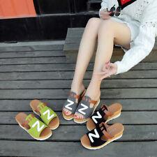 Womens Low Wedge Heels Platform Slippers Sandals Open Toe Summer Casual Shoes Sz