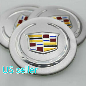 OK56-S 4X Fit Cadillac Silver ACRYLIC Aluminum WHEEL CAP EMBLEM Sticker 56mm NEW