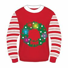 Mens Womens Light Up Christmas Wreath Ugly Christmas Retro Sweater Costume LRG