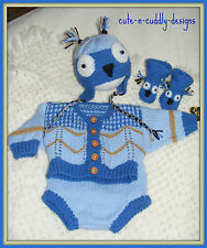 Baby /Reborn doll designer KNITTING PATTERN Owl Themed