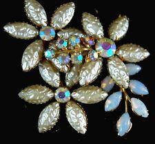 Vintage 1960s Iridescent AB , Opal Glass & Creamy Molded Rhinestone Brooch Pin