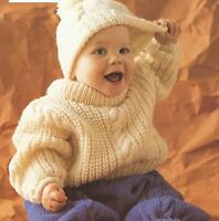 "Baby Aran Sweater Trousers Hat Knitting Pattern 18-26""  251"