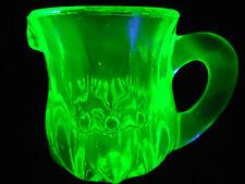 Green Vaseline glass child's toothpick holder Pitcher Uranium yellow creamer set