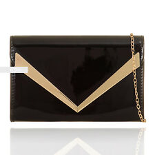 New Black Patent Wedding Ladies Party Prom Evening Clutch Hand Bag Purse HandBag