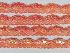 2 Meter Spitze Lachs farbe nichtelastisch 7cm breit Borte Cg