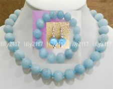 Natural 14MM BRAZILIAN AQUAMARINE GEMS BEADS NECKLACE bracelet earrings sets AAA