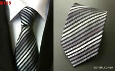 Negro Rayas Blancas Estampado Hecho a Mano 100% Seda Corbata de Boda