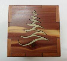 Tree Laser Cut Cedar Box (Bug Kill Pine Inlaid Tree) - Made in USA -