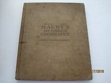 MAURY'S NEW COMPLETE GEOGRAPHY, 1917 Illustrated hb jk123
