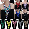 Fashion Black Chain Resin Acrylic Crystal Choker Statement Pendant Bib Necklace