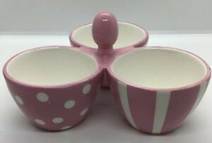 """THE PAMPERED CHEF TRIO BOWL PINK/WHITE POLKA DOTS PINKRIBBON """"HELP WHIP CANCER"""""""