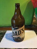 "Vintage Dad's Root Beer Brown Bottle Large Partial Cork 10"" Height"