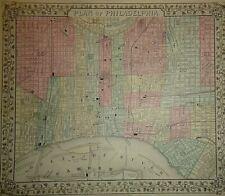 2 Vintage 1869 PHILADELPHIA & PENNSYLVANIA MAPS Antique Original & Authentic