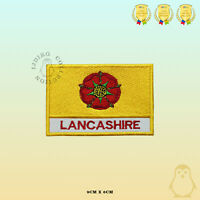 LANCASHIRE County Flag With Name Embroidered Iron On Sew On Patch Badge