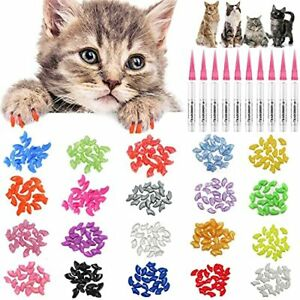 JOYJULY 100pcs Cat Nail Caps Pet Cat Claw Kitty Caps Control Soft Paws of 5