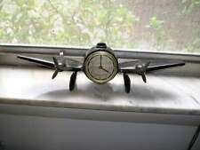 Vintage 1984 Sarsaparilla Metal Airplane Mantel Desk Alarm Clock Works Great