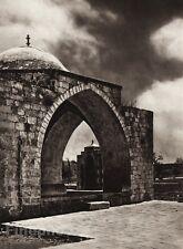 1925 Vintage JERUSALEM Temple Stone Architecture Landscape ISRAEL Palestine Art