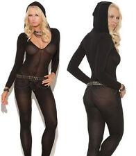 lady Sexy Bodystocking Bodysuit Lingerie Sheer Babydoll Underwear Catsuit hooded