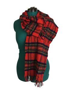"Johnstons of Elgin 100% Cashmere Red Plaid Royal Stewart Tartan Scarf 50"""