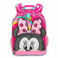 b243fc0faae Disney Store Deluxe Minnie Mouse Pink Black Polka Dot Cute Girls Backpack  NEW