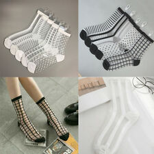 Womens POP White&Black Mesh Lace Striped Silk Polka Dot Ankle High Short Socks^,