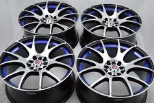 """4 New DDR T7 18x8 5x100/114.3 40mm Black Polished Blue Undercut 18"""" Wheels Rims"""
