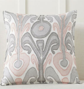 """NWT Pottery Barn Kenmare Ikat Embroidered Pillow Cover - 24"""" - Blush $75.50"""