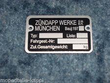 Zündapp Typenschild Rahmen Combinette Falconette C50 Super Sport 440 441 515 517