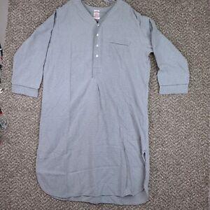 BROOK BROTHERS Mens XL Grey Check Flannel Long Nite Pajamas sleep Shirt Cotton