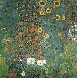 gustav klimt sunflowers Framed Canvas abstract vintage painting art wall decor