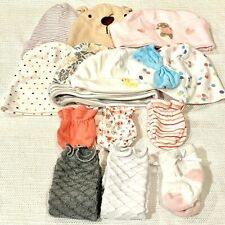 Lot of 14 baby hats socks gloves Infant One Size #12