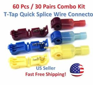 60pc T-Taps Splice Wire Connector Insulated Spade Kit Electrical Crimp Terminals